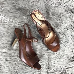 Franco Sarto Heeled Open Toe Ankle Strap Sandals